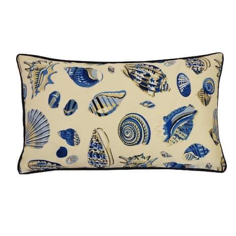 Jiti Cream Seahorse Tropical Sunbrella Outdoor Pillows - 12 x 20