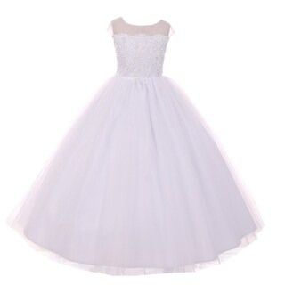 Rain Kids Girls White Sheer Organza Satin Sequin Pearl Communion Dress
