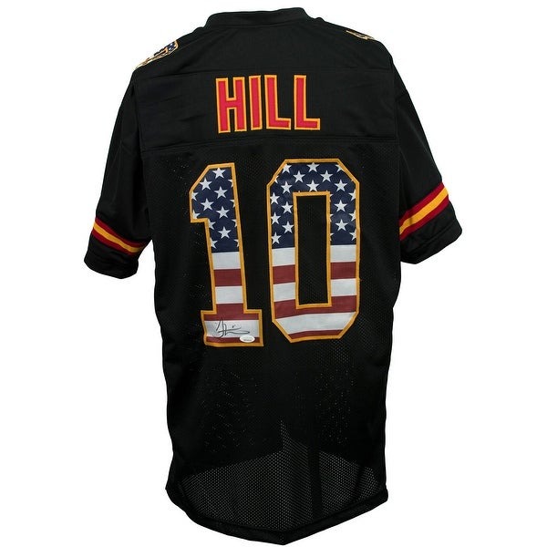 official photos ee8aa 0c5c8 Tyreek Hill Signed Custom American Flag Pro-Style Black Jersey JSA