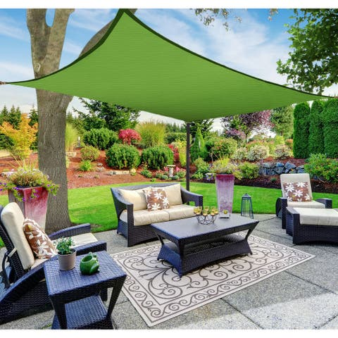 Boen Rectangle Sun Shade Sail Canopy Awning UV Block for Outdoor Patio Garden and Backyard - Green - 8'x12'