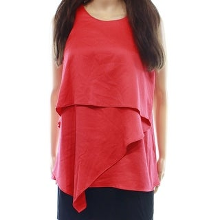 Alfani NEW Red Tropical Punch 8 Asymmetrical Tiered Tank Blouse