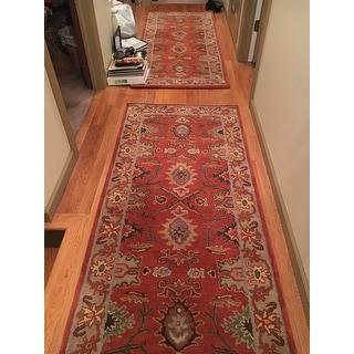 "Safavieh Handmade Heritage Timeless Traditional Rust/ Beige Wool Rug - 2'6"" x 6' Runner"