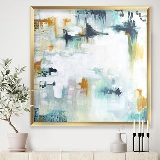 Link to Designart 'Teal and White Composition' Modern & Contemporary Framed Art Print Similar Items in Art Prints