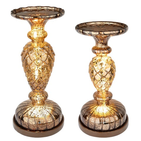 2 Lit Pillar / Handmade Mercury Glass / Pinecone / Pedestals Candle Centerpiece Holders with Micro LED Lights - Coffee