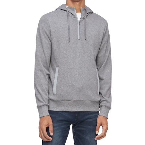 Calvin Klein Mens Sweatshirts Gray Size XL 1/4 Zipper Pullover Hoodie
