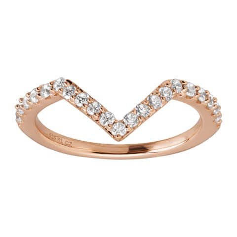 Chevron Ring with White Cubic Zirconia in 14K Rose Gold-Plated Sterling Silver