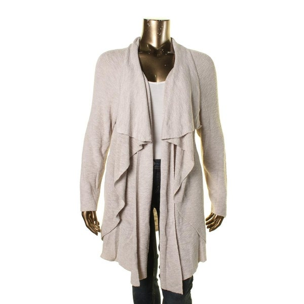 Nic + Zoe Womens Plus Cardigan Sweater Ribbed Knit Asymmetric