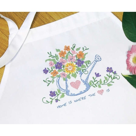"Stamped Cross Stitch Apron 33""X36""-Watering Can"
