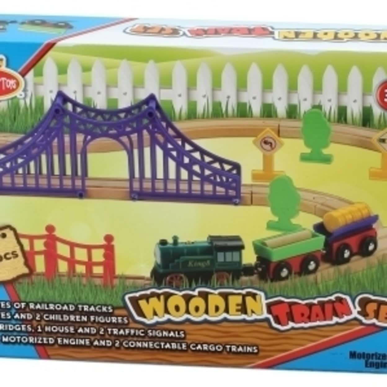 Omni Wooden Toys 964016 Motorized Engine Train Set 30 Piece