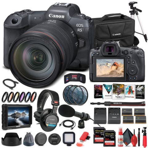 Canon EOS R5 Mirrorless Camera W/ 24-105mm f/4L Lens 4147C013 - Pro