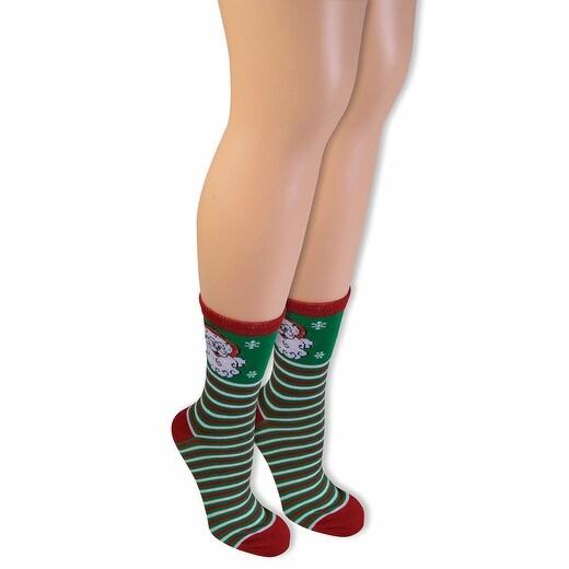 Ugly Christmas Santa Ankle Socks Adult - Green