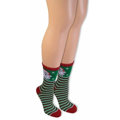 Ugly Christmas Santa Ankle Socks Adult - Green