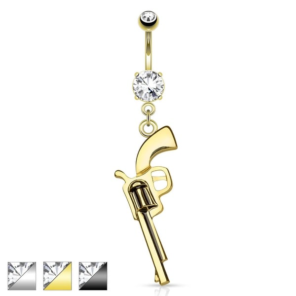 Gun Dangle CZ Prong Set 316L Surgical Steel Navel Rings
