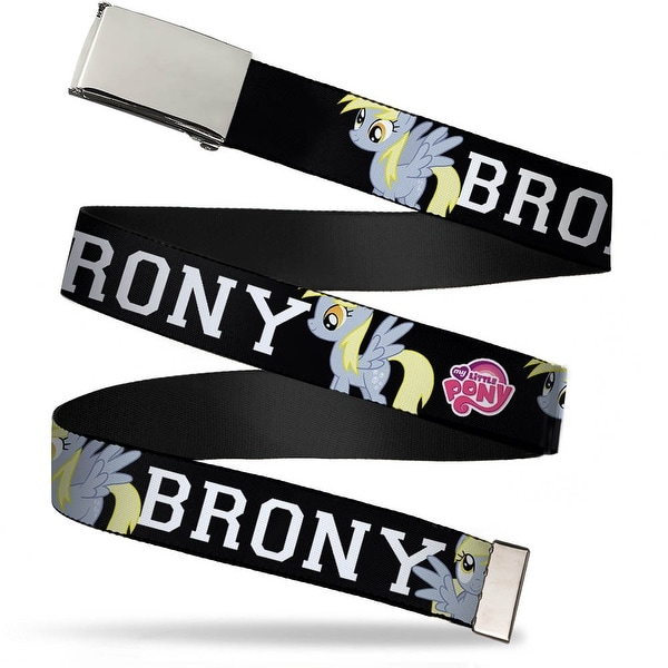 Blank Chrome Buckle Brony Derpy Muffins Poses Black White Webbing Web Belt