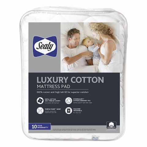Sealy Luxury Cotton Mattress Pad - White