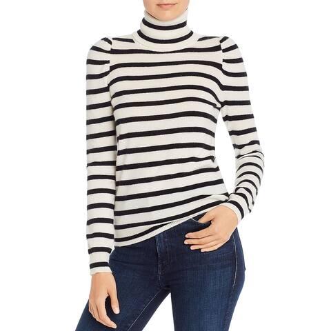 Madeleine Thompson Womens Pullover Sweater Cashmere Turtleneck - Black/White