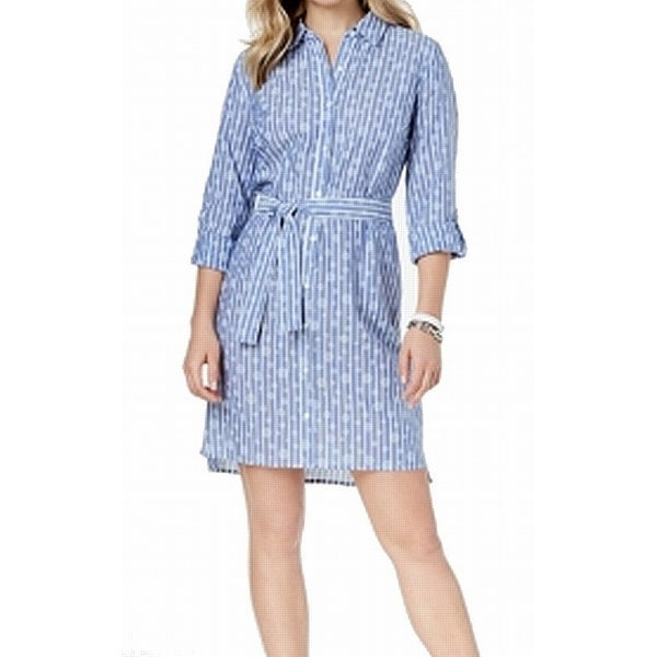 54f8e02f Shop Tommy Hilfiger Chambray Striped Polkadot Print Shirt Dress - Free  Shipping On Orders Over $45 - Overstock - 26950895