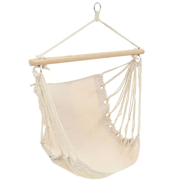 vidaXL Patio Hanging Hammock Cream White Swing Chair Garden Outdoor Porch Seat