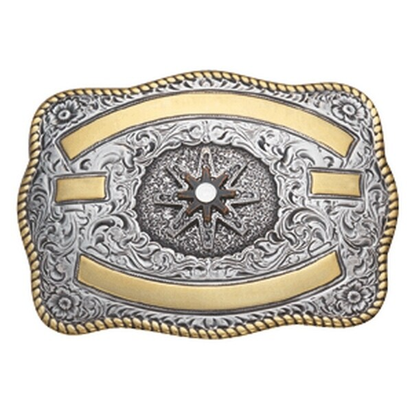 Crumrine Western Belt Buckle Rectangle Spur Rowel Gold Silver - 3 1/4 x 4 1/4