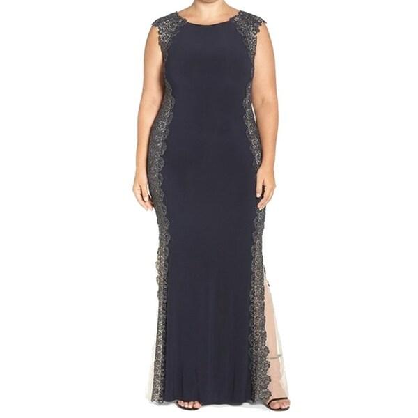 Shop Xscape NEW Navy Blue Gold Crochet Lace Women 20W Plus Ball Gown ...