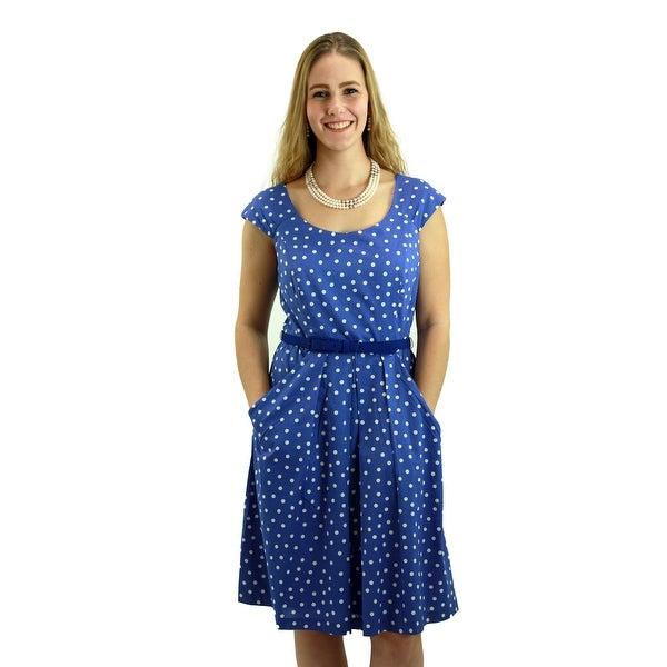 Signature Weaves Women's Lavender Blue polka dot Dress with Belt