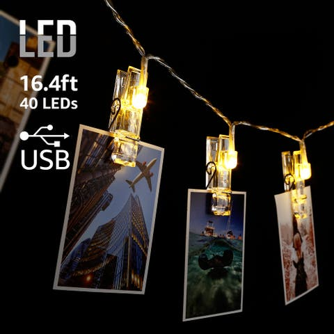 16.4ft 40 LEDs Card Photo Clip USB String Lights