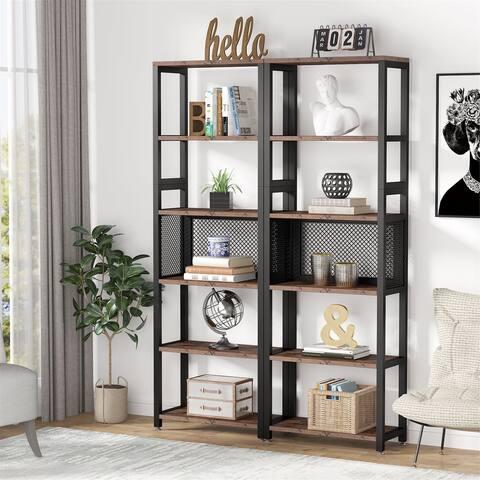 2 Pack Bookshelf Bookcase, Industrial 5 Tier Open Display Shelves