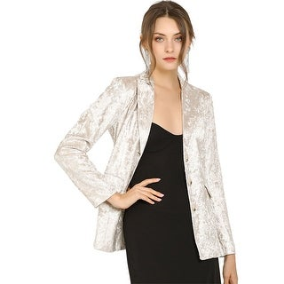 Link to Allegra K Women's Notched Lapel Collar Textured Blazer - Silver White Similar Items in Suits & Suit Separates