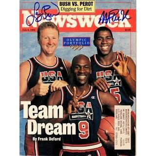 Larry Bird & Magic Johnson Dual Signed Newsweek June 6, 1992 Original Magazine w/Michael Jordan