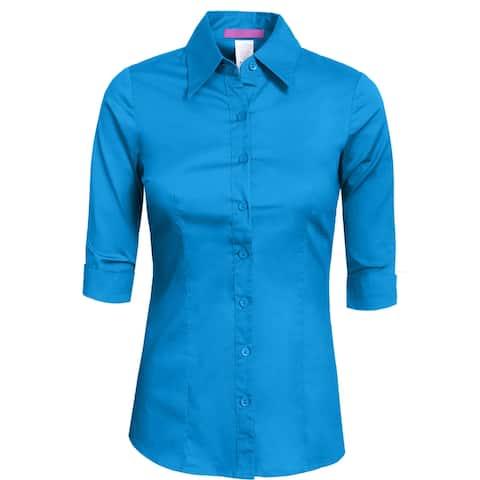 NE PEOPLE Womens Tailored 3/4 Sleeve Button Down Shirt [NEWT05]