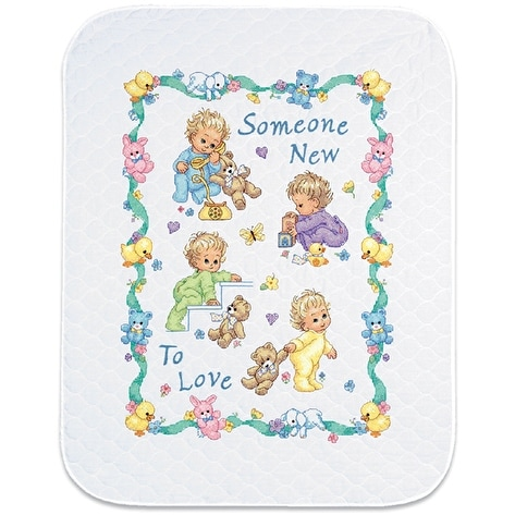 """Baby Hugs Someone New Quilt Stamped Cross Stitch Kit-34""""X43"""""""