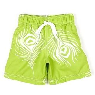 Azul Baby Boys Green Feather Flowered Pattern Lined Swimwear Trunks