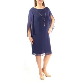 SLNY $99 Womens New 1327 Navy Jewel Neck Dolman Sleeve Dress 14W Plus B+B