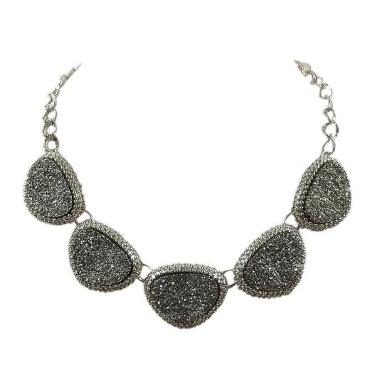 max & MO Silver Glitter Rock Linked Necklace