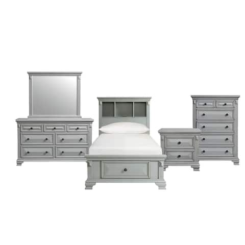 Picket House Furnishings Trent Twin Storage 5PC Bedroom Set in Gray