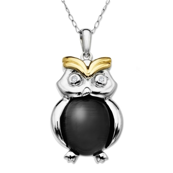 3 1/2 ct Onyx Owl Pendant with Diamonds in Sterling Silver & 14K Gold