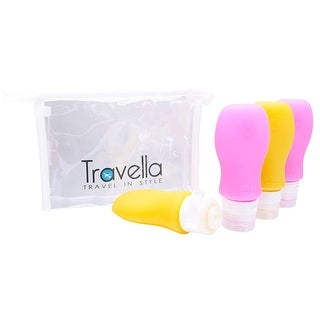 Silicone Anti-Leak Lid Travel Containers, Set of 4 TSA Approved Bottles for Toiletries, With Clear Cosmetics Bag, Pink & Yellow