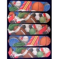 Sports Themed Custom Designer 52in Ceiling Fan Blades Set - Multi