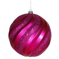 Vickerman M112009 6 in. Cerise Matte-Glitter Swirl Ball