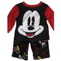 Disney Baby Boys Black Mickey Mouse Cartoon Inspired 2 Pc Pajama Set 12-24M