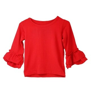 Girls Red Double Tier Ruffle Sleeved Cotton Spandex Top 12M-7