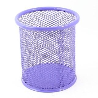 9.8cm Height Cylinder Mesh Style Pen Ruler Holder Desk Organizer Purple