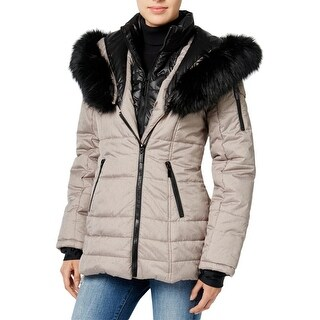 Wild Flower Womens Puffer Coat Layered Faux Fur - S