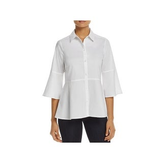 Foxcroft Womens Button-Down Top Bell-Sleeve Stretch