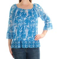 INC Womens Blue Floral 3/4 Sleeve Scoop Neck Top  Size: M