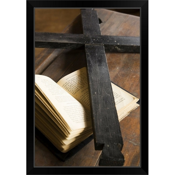 """""""black wooden cross on top of an opened bible"""" Black Framed Print"""