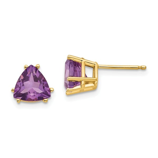 14K Yellow Gold 7mm Trillion Amethyst Earrings by Versil. Opens flyout.