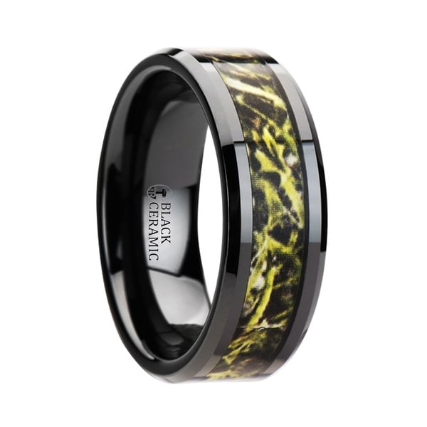EVERGLADE Black Ceramic Wedding Band with Green Marsh Camo Inlay Ring 8mm