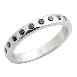 Brand New 0.25 Carat Bezel Set Blue Diamond Wedding Band