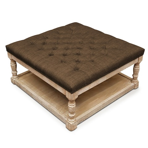 Cairona Tufted Textile 34-inch Shelved Ottoman Table